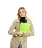 Sexy business lady - formal glasses and folder Stock Photos