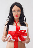 business lady with gift box with red ribbon Stock Photo