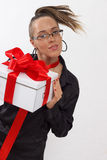 business lady holding gift box with red ribbon Stock Photos