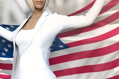 Sexy Business Lady Holds USA Flag In Hands Behind Her Back On The Office Building Background - Flag Concept 3d Illustration Royalty Free Stock Photography