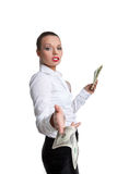 Sexy business woman give a bank note with defiance Stock Image