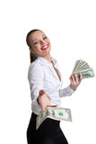 business woman give a dollar with defiance Stock Photo