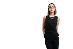 Sexy business woman in glasses on a white background Stock Photography