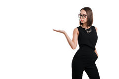 Sexy business woman in glasses on a white background Royalty Free Stock Image