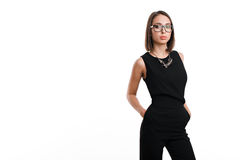 Sexy business woman in glasses on a white background Stock Photos