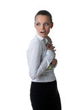 Sexy business woman hide lots of dollars Royalty Free Stock Photography