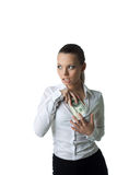 Sexy business woman hide lots of money Stock Photography