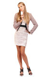 Sexy business woman holding a blank business card Royalty Free Stock Photo