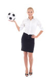Sexy business woman holding soccer ball in hand isolated on whit Stock Images