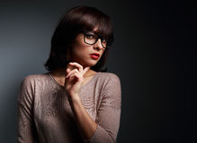 Sexy business woman looking in fashion eyes glasses Stock Photography