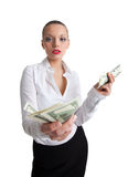 Sexy business woman offer a money Stock Photo