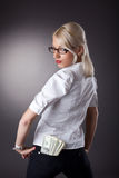 Sexy business woman offer a money Stock Image