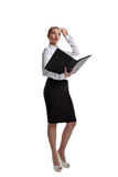 Sexy business woman stand with big ledger book Royalty Free Stock Photo
