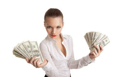 Sexy business woman take a bundle of money Stock Photos