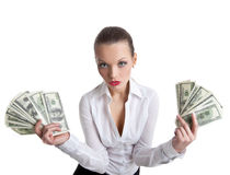 Sexy business woman take a bundle of money Stock Photo