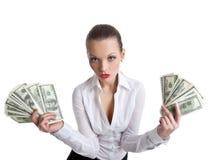 Sexy business woman take a bundle of money Stock Photo