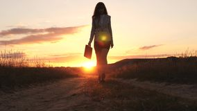 Sexy Business woman walking along a country road with a briefcase in hand, the sun shimmers at sunset. Sexy business. Girl working in countryside. beautiful stock photo