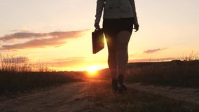 Sexy Business woman walking along a country road with a briefcase in hand, the sun shimmers at sunset. Sexy business. Girl working in countryside. beautiful stock photography