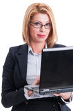Sexy business woman working on laptop Royalty Free Stock Image