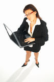Business women 1. Business women isolated on white holding laptop computer stock photography