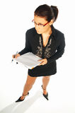 Business women 2. Business women isolated on white holding notebook royalty free stock photo
