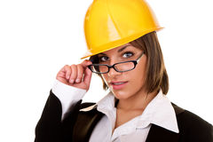 Sexy businesswoman with helmet Stock Photography