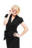 Sexy businesswoman take off glasses Stock Photography
