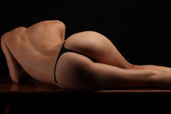 Sexy butt ass girls in black underwear isolated Royalty Free Stock Photo