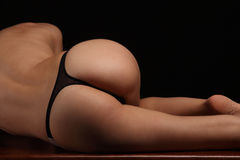 Sexy butt ass girls in black underwear isolated Royalty Free Stock Photography