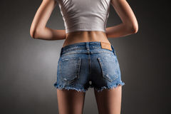 Sexy butt in denim shorts. Stock Photo