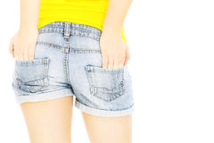 in jeans shorts Royalty Free Stock Photos