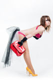 Sexy cabaret girl with red bag Stock Images