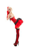 Sexy cabaret woman in red outfit Royalty Free Stock Image