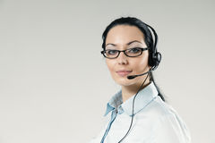 Sexy call center operator full face portrait Royalty Free Stock Image
