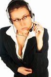 Call centre agent 3. Call centre agent wearing headset royalty free stock image