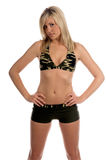 Camo. Beautiful blond in a camo bikini stock photography