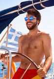 Sexy captain of sailboat Royalty Free Stock Images