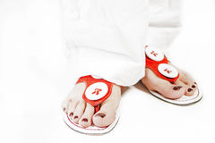 Sexy Caucasian Female Feet in Slippers Ready for Flip-Out Holida Stock Photography