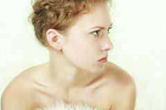 Caucasian young woman. Close-up portrait of caucasian young woman stock photos