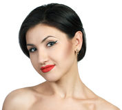 Sexy caucasian young woman with black stripes. Portrait of sexy caucasian young woman with black hair and red lips Royalty Free Stock Photos