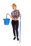Sexy cheerful housewife with bucket and mop Stock Images