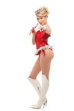 Sexy cheerful santa helper girl Stock Photography