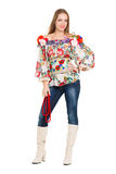 Sexy cheerful woman. Posing in flowery blouse and boots. Isolated on white Royalty Free Stock Photography