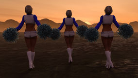 Sexy Cheerleader-Gebirgssonnenuntergang Stockbilder