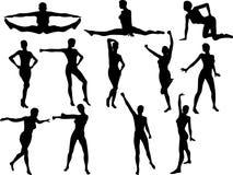 Sexy Cheerleader Silouettes Stock Photos