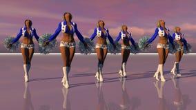 Sexy Cheerleadern bei Sonnenuntergang Vektor Abbildung