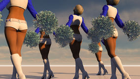 Sexy Cheerleaders Dream Scene. 3D character set in a dream environment Stock Images