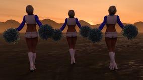 Sexy Cheerleaders Mountain Sunset Stock Images
