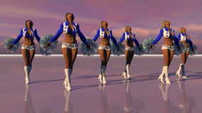 Sexy Cheerleaders At Sunset. 3D character set in a dream environment Royalty Free Stock Image