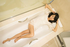 Sexy Chinese Girl In A Boudoir Royalty Free Stock Photos